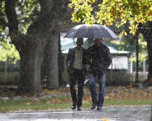 Djurgården Stockholm Sverige  regn paraply människor promenerar park höst