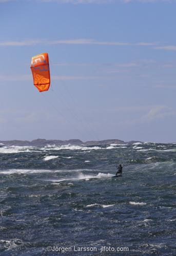 Bohuslän Sweden Waves cliffs windy coast  kitesurfing  surfer