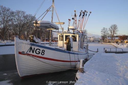 Trosa Fiskebåt vinter Södermanland Sverige