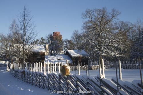 Skansen Stockholm Museum hus gårdar gärdesgårdar vinter