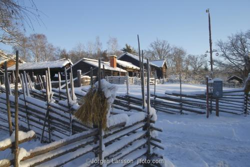 Skansen Stockholm Sverige  Museum vinter gärdesgårdar