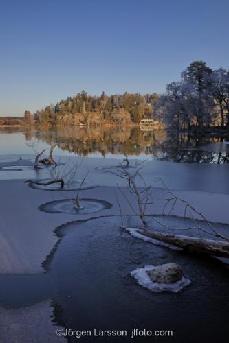 Winter in Botkyrka Sodermanland Sweden cold, frost ice