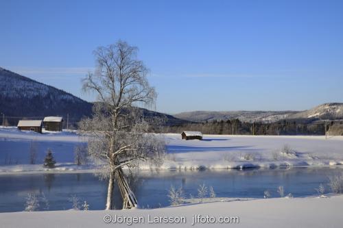 Härjedalen vinter Sverige  Älv Hus kallt