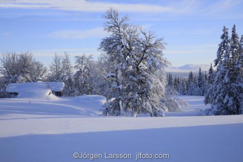 Härjedalen vinter Sverige  Hus stuga kallt