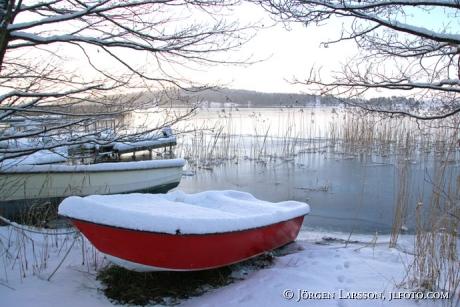 Båt vinter Näslandet Grödinge Södermanland