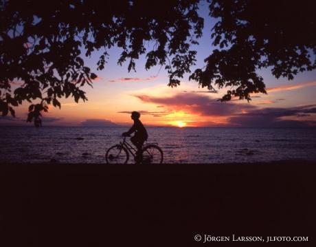 Cyklist i solnedgång Visby Gotland