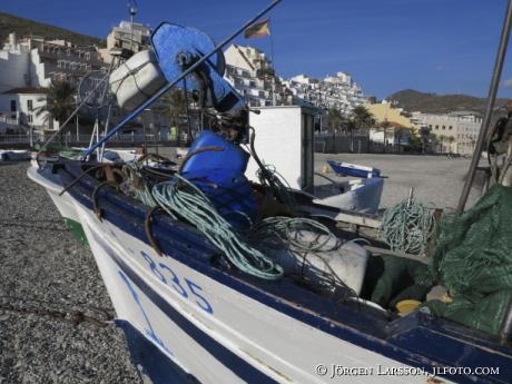Fiskebåtar vid Castell de Ferro Andalusien Spanien
