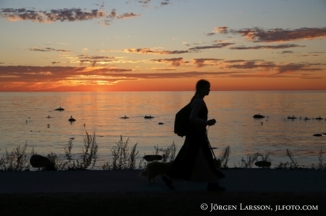 Kvinna i solnedgången