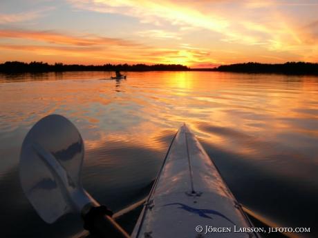 Canoe dawn Smaland Sweden