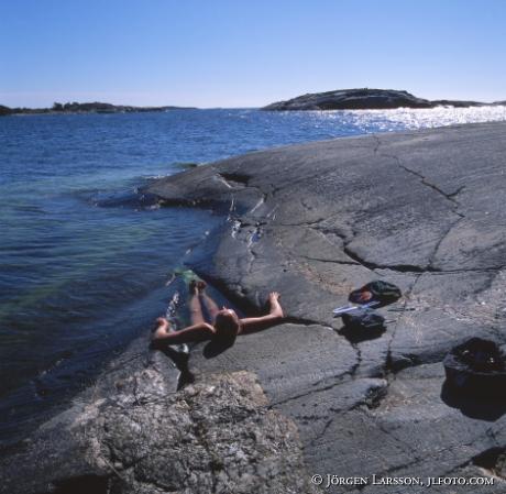 Man bathing Sandhamn Sweden