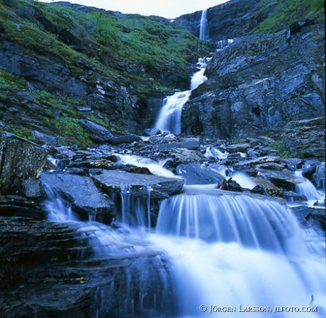 Waterfall Njulla  Abisko National Park Lappland