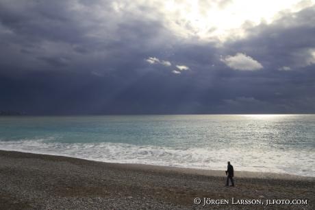 Sol Hav Strand Man Ensam Himmel