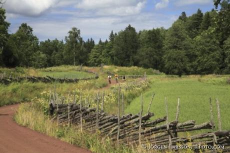 Cyklister på grusväg Småland