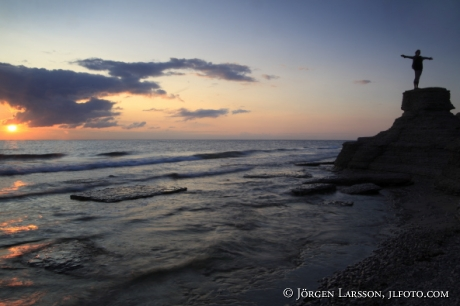 Solnedgång i havet Byerum Öland Blå Jungfrun