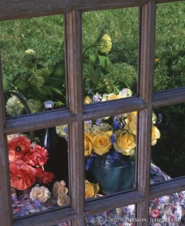 Blommor vid spegel