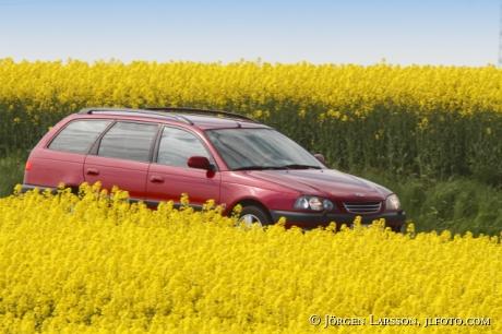 Bil i rapsfält Skåne Sverige