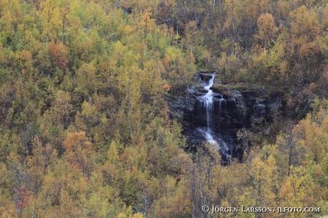 Vattenfall nära Gaustafallet Jämtland Sverige